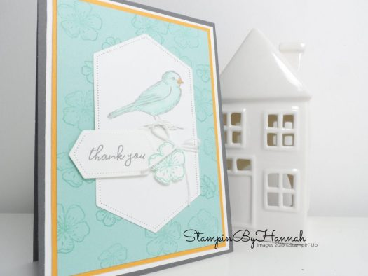 Thank you card using Free as a Bird from Stampin' Up! with StampinByHannah