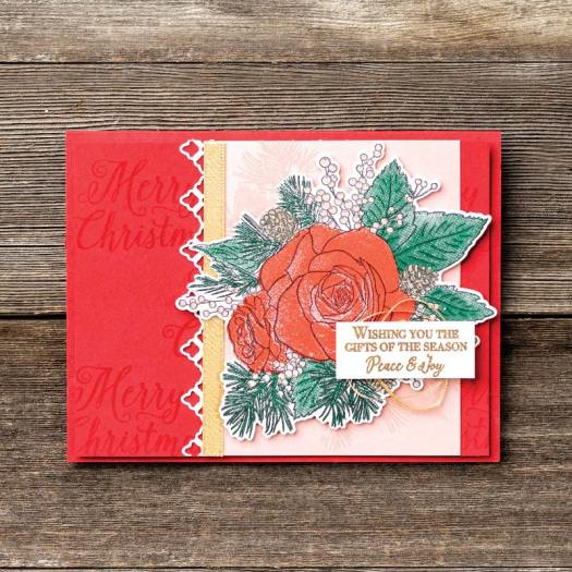 Christmas Rose Peace and Joy Card using Christmastime is here from Stampin' Up! with StampinByHannah