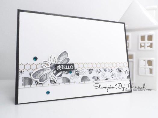 Hello Honey Bee quick and simple card using Stampin' Up! products with StampinByHannah