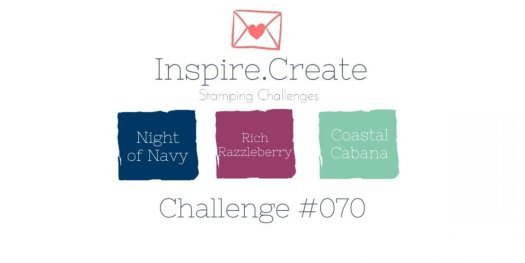 Inspire.Create.Challenge cardmaking colour challenge Stampin' Up! Night of Navy, Rich Razzleberry, Coastal Cabana