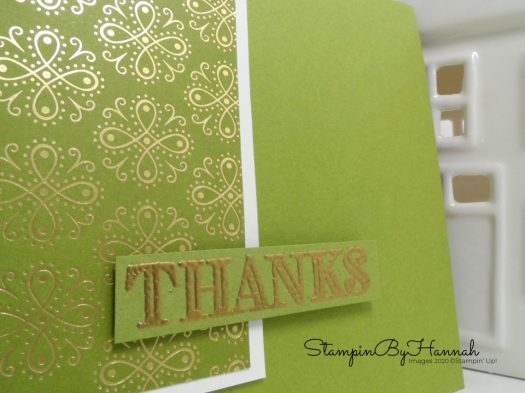 Pretty Green Thanks Card using Ornate Garden from Stampin' Up! with StampinByHannah