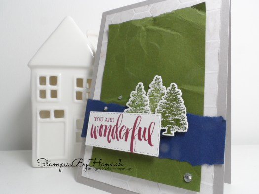 Handstamped card with texture using Rooted in Nature from Stampin' Up! with StampinByHannah
