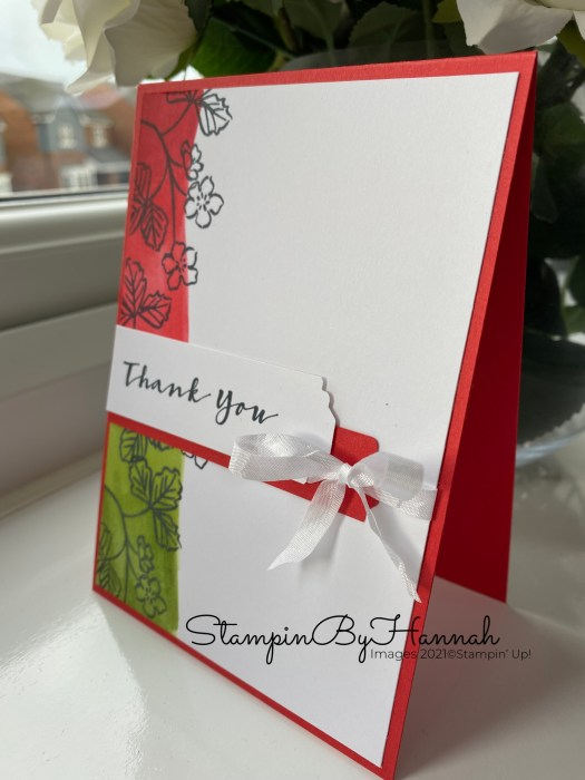 Quick and Easy Thank You card using Sweet Strawberry from Stampin' Up! with Stampin' Blends and StampinByHannah
