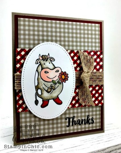 cute cow thank you card