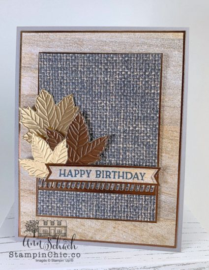 masculine birthday card with metallic leaves