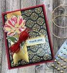 red, black and gold thank you card