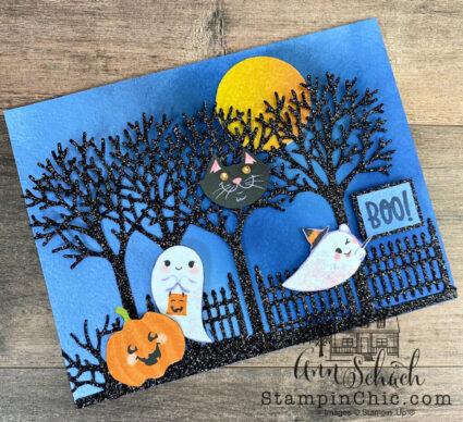spooky sparkly Halloween card