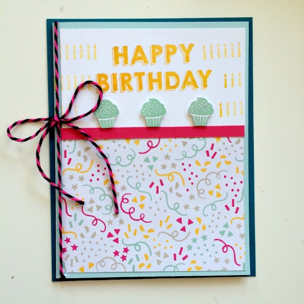 It's My Party and Party Wishes birthday balloon card from StampinFool.com