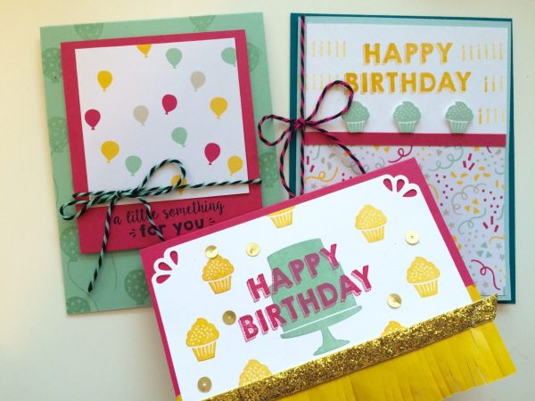 Quick and Easy Birthday Card Set from StampinFool.com using Party Wishes and It's My Party DSP