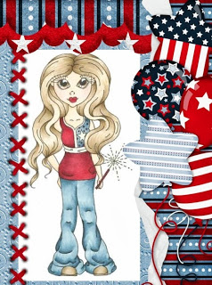 Freebie: 4th of July Girl Digi