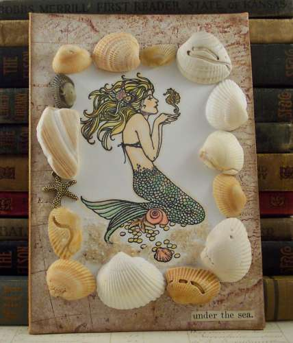 project: stamped mermaid collage