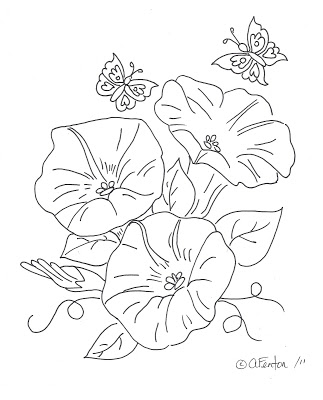 Freebie: Morning Glory Digi Stamp
