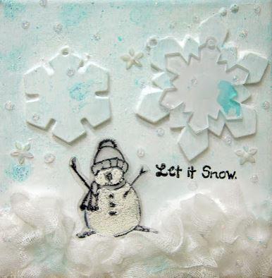project: mixed media snowman cavas