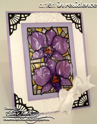 Technique: Stamped Card w/ a Stained Glass Look