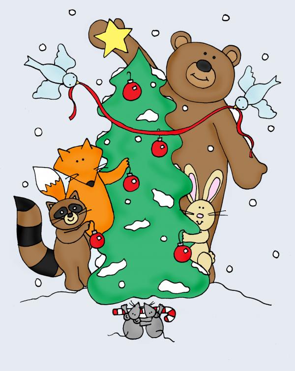Freebie: Woodland Animals Holiday Digital Stamp