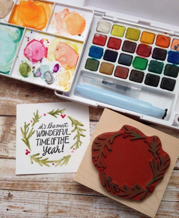 Technique: Water Coloring on Rubber Stamps
