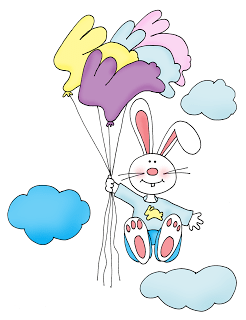 Freebie: Balloon Bunny Digi Stamp