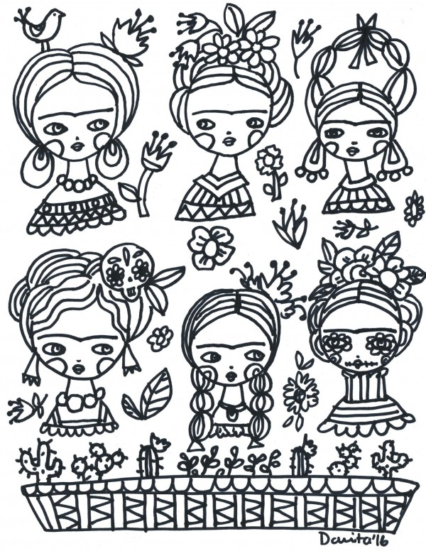 Freebie: Frida Kahlo Coloring Page – Stamping