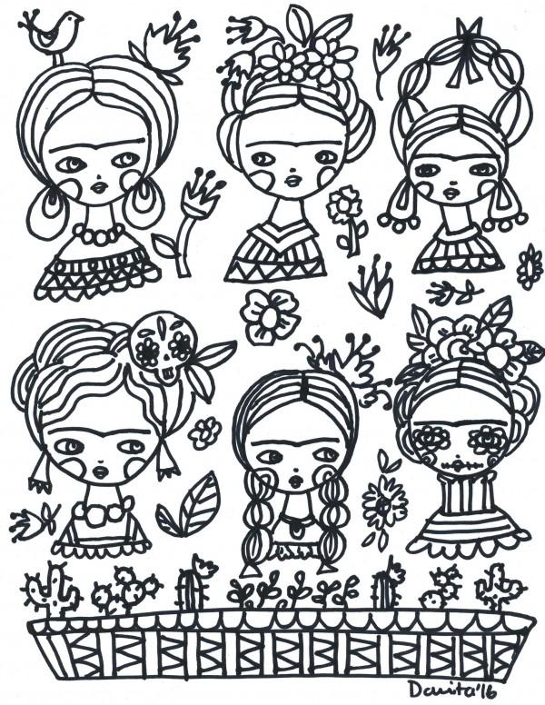 freebie frida kahlo coloring page stamping