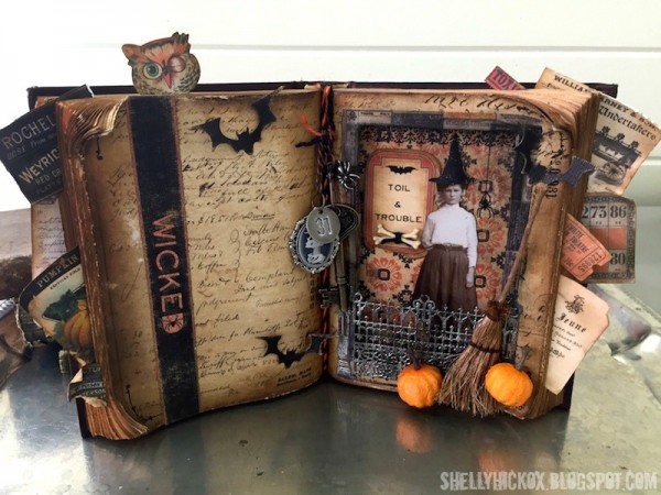 Project Altered Halloween Book Stamping