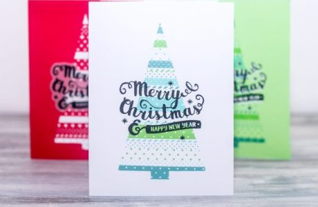 Project: Christmas Tree Stencil and Stamped Card