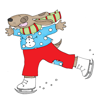Freebie: Skating Dog Digital Stamp