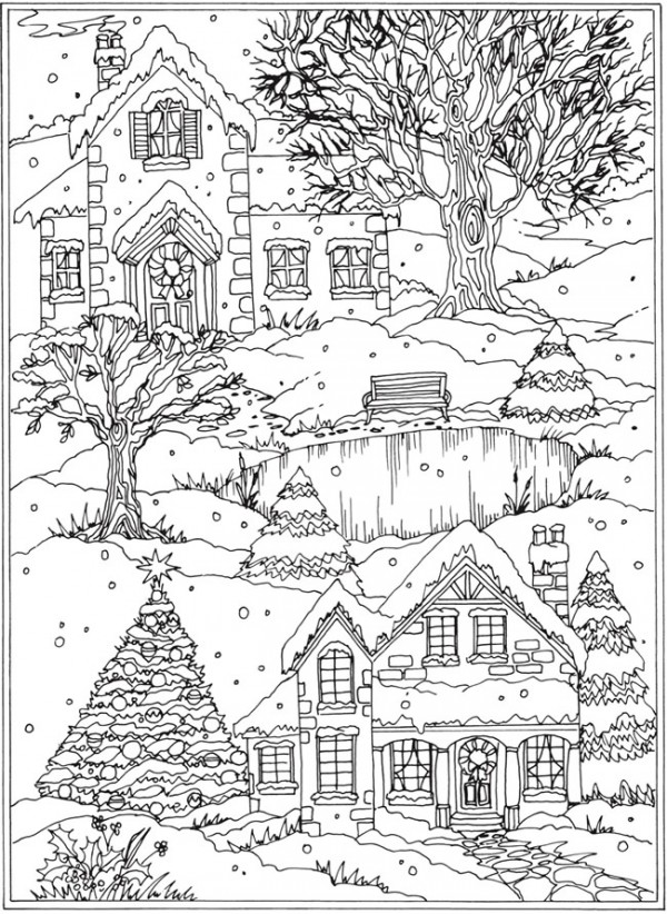 Freebie: Snow Scene Coloring Page - Stamping
