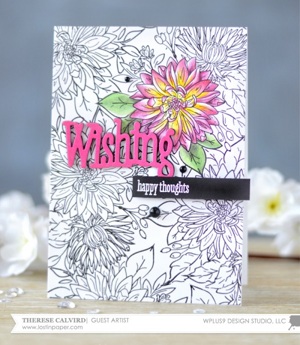 Project Stamped Floral Greeting Card with a Coloring Page Look