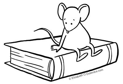 Freebie: Mouse and Book Digital Stamp