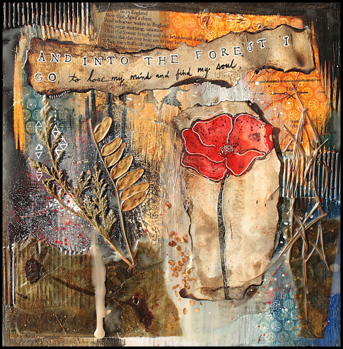 Project: Mixed Media Poppy Collage Art