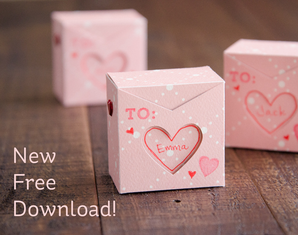 Freebie: Mini Valentine's Day Treat Box Die