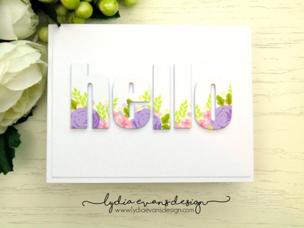 Project Card with Floral Stamped Die Cut Letters