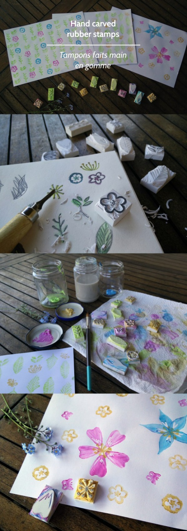 Tutorial: DIY Hand Carved Flower Stamps