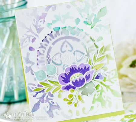 Technique: Water Colored Stencil Card Background