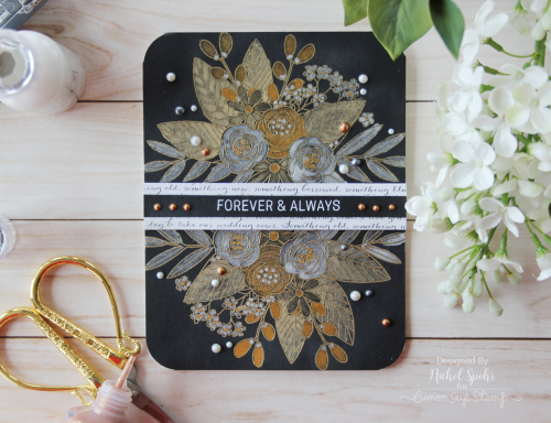 Project: Metallic Floral Wedding Card