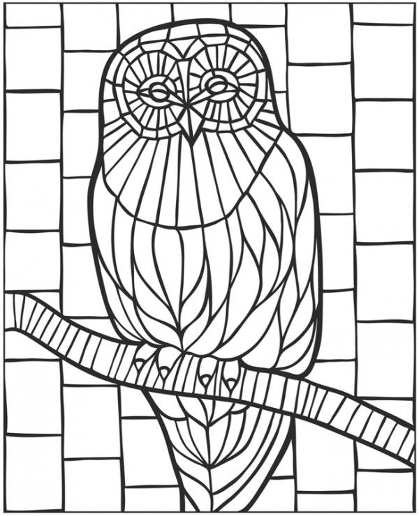 download owl coloring page stamping. Black Bedroom Furniture Sets. Home Design Ideas