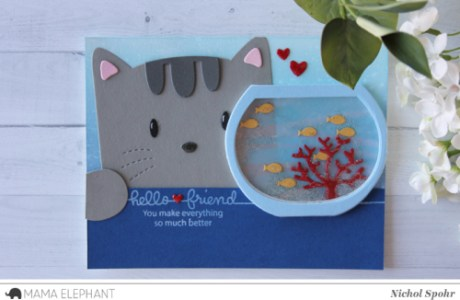 Project: Cat and Fish Bowl Die Cut Card