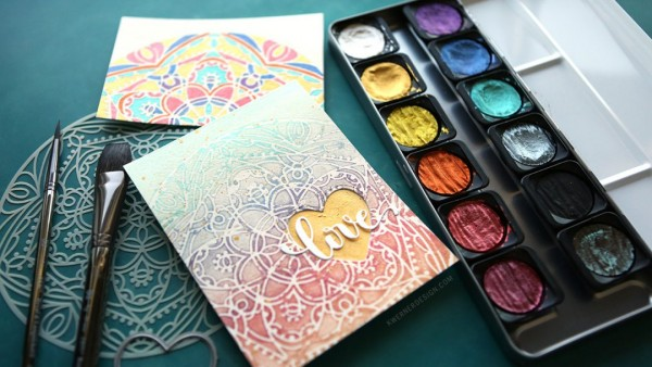 Technique: Metallic Water Coloring and Stenciled Card