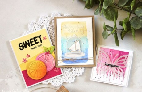 Techniques: Three Different Color Blocked Cards