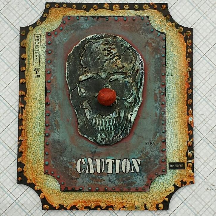 "Project: Caution Clown ( ""It"" Inspired ? ) Halloween Mixed Media"