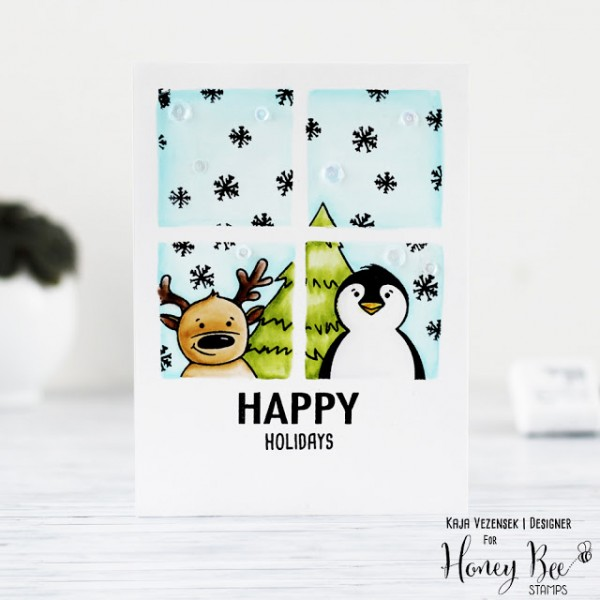 Project One Layer Winter Window Card Stamping