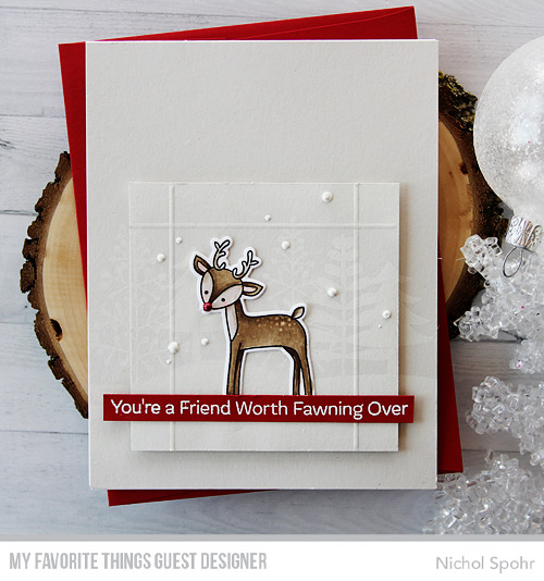 Technique: Winter Deer Card with White on White Background
