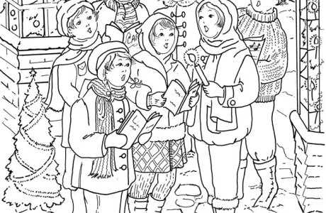 Download: Children Caroling Coloring Page