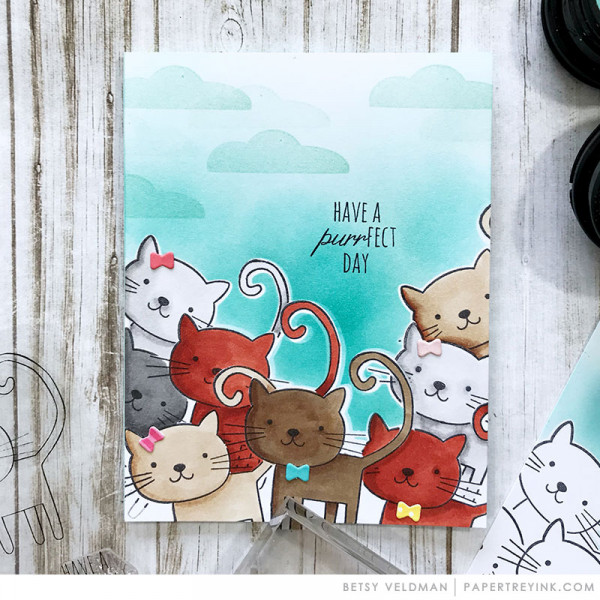 Tip: Masking Stamps with Dies Kitty Card