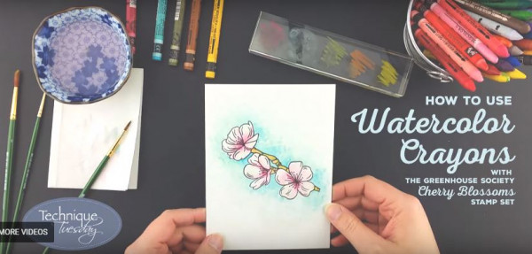 Coloring Stamps with Water Color Crayons