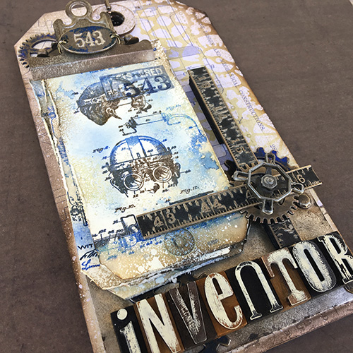 Inventor Mixed Media Tag Art