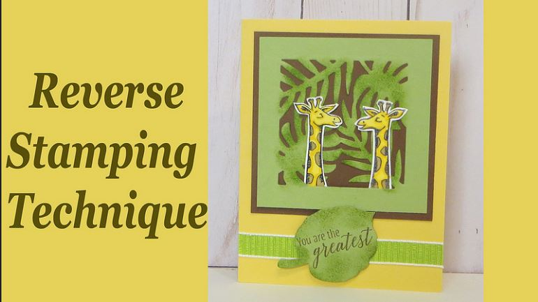 Giraffe Card with Reverse Stamping Technique