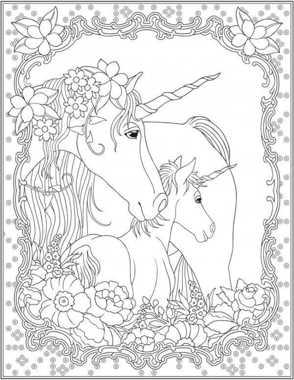 Six Unicorn Coloring Pages