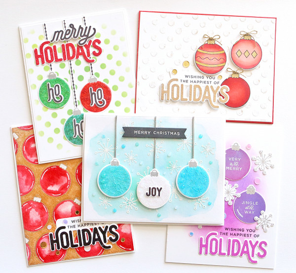 One Stamp 5 Ways - Christmas Ornament Cards