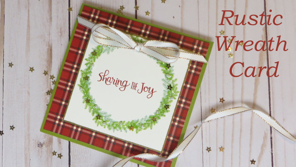 Rustic wreath christmas card